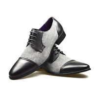 Mens Leather Shoes Grey Black Formal Dress Office Casual Smart Party Wedding