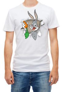 Torn effect Bugs Bunny, Eating carrot funny Short sleeve Men T Shirt K1041