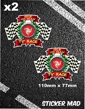 Tt isle of man course autocollants avec pneus et drapeaux moto gp yamaha ducati 46 manx