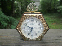 Vintage Seth Thomas Alarm Clock Mother Of Pearl Gold Tone Germany Working