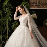 White Long Sleeve Princess Ball Gown A-Line Lace Wedding Bridal Dress Applique