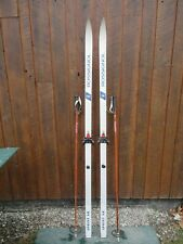 """New listing Ready to Use Cross Country 75"""" Rossignol 195 cm Skis Waxless Base + Poles"""