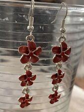 Hawaiian Red Cz Triple Plumeria Flower Earring French Hook Hawaii Jewelry