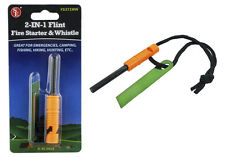 2-IN-1 Flint Fire Starter & Whistle Survival Tool Emergency Prep Camping Hiking