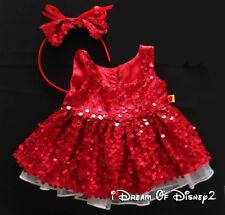 Build-A-Bear RED SEQUIN CHRISTMAS HOLIDAY DRESS & BOW HEADBAND Teddy Clothes