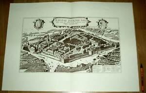 Leipzig alte Ansicht Braun-Hogenberg Druck Stich 1617 (schw) Städteansicht Sachs