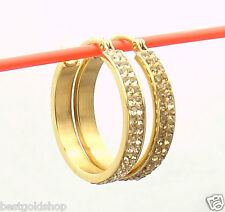 "1"" Pave Set Crystal Hoop Earrings Stainless Steel by Design Yellow Gold Tone QVC"