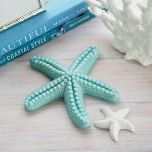 2 Piece Seafoam & White Ceramic Starfish Duo Hamptons Coastal Home Decor ©
