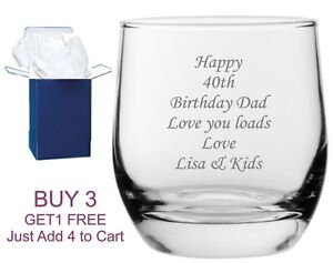 Personalised Whisky Glass engraved tumbler whisky whiskey brandy any message