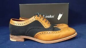 LOAKE UK 11 THOMPSON TAN LEATHER & SUEDE BROGUE STYLE LACE UP SHOES BOXED
