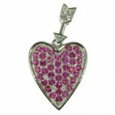 Ruby Heart Silver Pendant with Curb Chain ZDSP1760