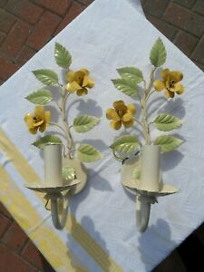 2 x Retro Style Painted Metal Flower Candle Sticks Converted To Electric L@VELY