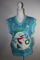 New MERRY CHRISTMAS Womens Medium UGLY Great Christmas Sweater Vest Snowman Blue