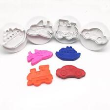 4pc Cake Cookie Cutter Plunger Car/Train/Truck Shape Sugarcraft Craft Mold BS
