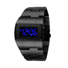 Men Stainless Steel Blue Binary Business LED 50M Waterproof Wrist Digital Watch