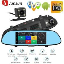 "7"" HD 1080P Android Car DVR 3G GPS Nav Dual Lens Rearview Mirror Dash Cam Wifi"
