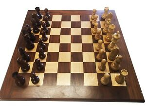 Wooden Chess Set: Walnut and Maple with Cigar Box for pieces