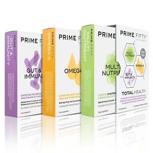 PRIME FIFTY Total Health | OMEGA 3, PROBIOTICS & MULTIVITAMINS | 30 Caps Each