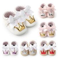 Newborn Infant Kids Baby Girls Crown Princess Shoes Soft Sole Anti-slip Sneakers