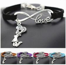 Infinity Love Cheerleader Cheer Girls Charms Team Cheering Leather Bracelets