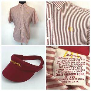 Vintage 1986 McDonalds Uniform Shirt size L Red Striped and Visor Crest Corp S10