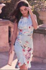 New Lipsy VIP Size 16 Baby Blue Tori All Over Floral Satin Flute Hem Dress