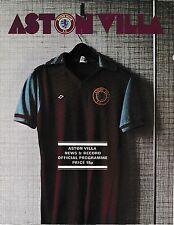Aston Villa Home Teams Testimonial Football Programmes