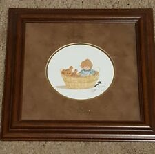 "1991 P Buckley Moss  70 /1000 Framed Print ""Basket Babe"" Signed Print & Glass"