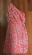 DVF- Agatha One Shoulder Coral Printed Silk Dress w/ slit- Size 4 Org. $385