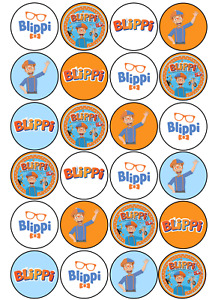 24 x Blippi Edible Cupcake Toppers Wafer Icing Decorations Birthday Party