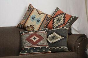 4 Set of Wool Jute Throw Indian Pillow Cover Vintage Handmade Kilim Rugs 10055