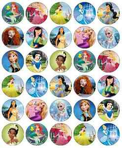 30 x Disney Princess Cupcake Toppers Edible Wafer Paper Fairy Cake Toppers