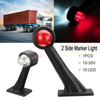 10 LED Red & White Side Marker Indicator Light Outline For Trailer Truck Lorry