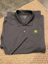 John Deere Official Training Polo Shirt, Grey, Lands End,100% Polyester, Men' XL