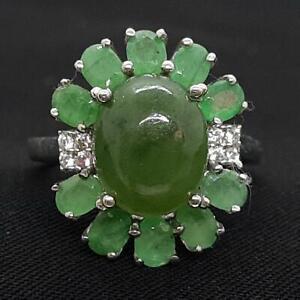 6.27ctw Nephrite Jade, Emerald & Diamond Cut White Sapphire 925 Silver Ring 4.6g