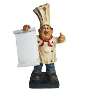 Tabletop Bistro Chef Holding Dry Erase Menu Board Kitchen Statue Figurine