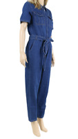 Dorothy Perkins NEW Dark Wash Maxi Denim Jumpsuit UK SIZE 8 EU 36