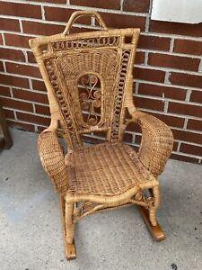 Vintage Antique Child High Back Wicker Rocking Chair