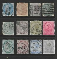 1855 to 1900 Queen Victoria collection of  12  stamps mainly Used INDIA