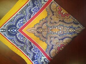 "14""  Silk Pocket Square  Paisley ""Diplomat"" Yellow/navy/brown--red border-D1"