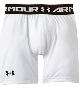 Under Armour Boys Heatgear Fitted Shorts White Youth Size L 3758