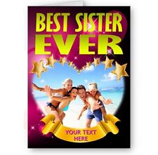 Personalised Heart Photo & Text, Best Sister Ever A5 All Occasions Card