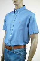 Ralph Lauren Custom Fit Oxford Blue Short Sleeve Shirt/Multi-Colored Pony-NWT