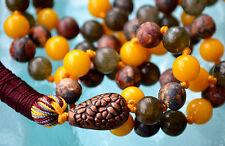 Labradorite Yellow Jade & Leopard Skin Jasper 108 Hand knotted Mala Beads Neckla
