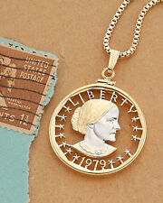 "Susan B. Anthony Dollar Cut Coin Pendant & Necklace 1-1/8"" Diameter ( # SBW )"