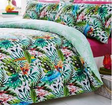Tropical Parrots Single Bedding Botanical Flowers Jungle Rainforest