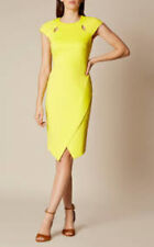 BNWT RARE KAREN MILLEN DIAGONAL HEM PENCIL DRESS SIZE 16 14 WEDDING RACES YELLOW