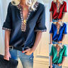 Women's Boho Sexy V-Neck Tops 1/2 Sleeve T-Shirt Lady Summer Casual Shirt Blouse