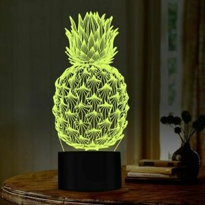 Pineapple 3D Illusion Lamp 16 Colors LED Ananas Night Light for Bedroom Decor