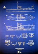 "Lighthouse Plan Service Boat 1915 Blueprint 24""x35"" (024)"